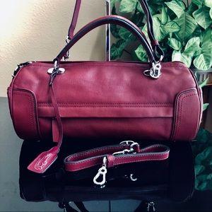 Lacoste Roll Bag Saffiano Leather Bordeaux EUC